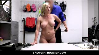 Big Tits Blonde MILF Caught Shoplifting Fucked By Guard
