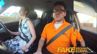 Fake Driving School pink nipples big tits redhead kinky girl gets a facial