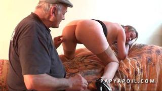 Grandpa fucks a young whore with a friend who sodomizes her deep